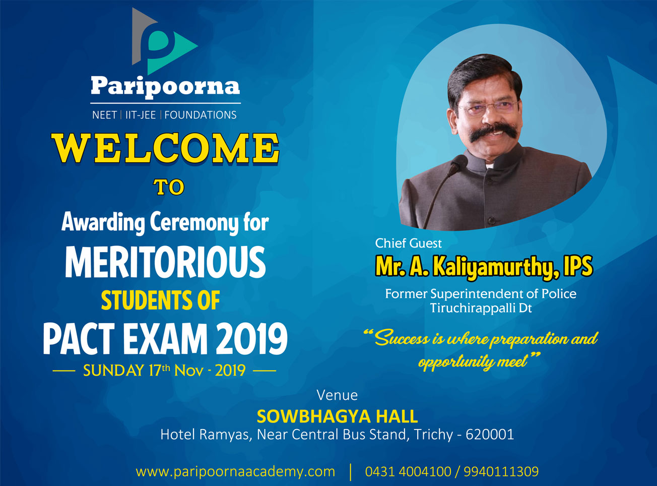 Awarding Ceremony for Meritorious Students of PACT EXAM 2019
